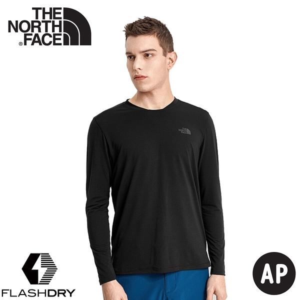 【The North Face 男 FLASHDRY 排汗長袖《黑》】4UAI/排汗衣/圓領長袖/休閒上衣