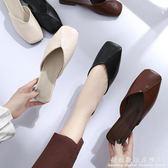 方頭鞋半拖鞋女夏季平底鞋包頭韓版學生外穿復古百搭奶奶鞋 科炫數位