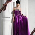 東京衣服 璀璨碎鑽 細摺立體大荷葉緞面晚禮服 紫色