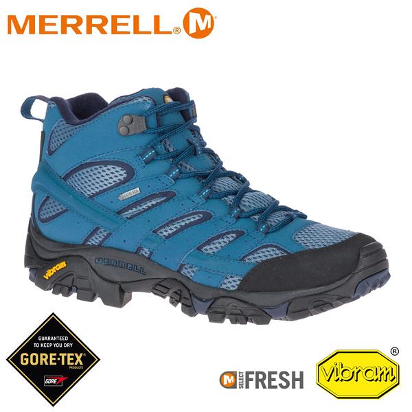 【MERRELL 美國 男 MOAB 2 MID GORE-TEX 戶外多功能登山鞋《銀河藍》】034801/水陸兩棲/防水