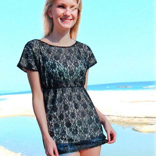 外搭二件式罩衫上衣.沙灘比基尼必備款、戲水趣、泳裝罩衫-黑-波曼妮亞