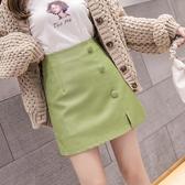 皮裙 2020秋季新款韓版高腰顯瘦單排扣PU小皮裙女百搭顯瘦包臀半身短裙