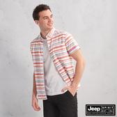 【JEEP】夏日清新質感短袖襯衫(橘條紋)