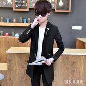 風衣外套 秋男中長款學生修身帥氣披風薄款休閒外衣潮 BF11498『寶貝兒童裝』