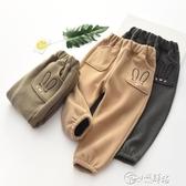 毛呢褲 女童休閒褲洋氣韓版 新款寬鬆兒童長褲時尚寶寶褲子