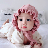 嬰兒帽子秋冬季女寶寶保暖毛線帽公主帽5個月-2歲女童3護耳針織帽