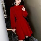 針織連衣裙女蕾絲拼接修身打底裙子秋冬氣質紅色本命年 花樣年華