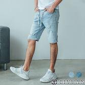 獨家抽繩彈性牛仔短褲【BPA25】OBIYUAN 韓版淺洗色刷破丹寧褲 共2色