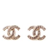 【CHANEL】CC Logo 金屬+水晶耳環(金色) A88429 Y02003 Z2800