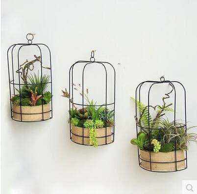 創意鳥籠壁掛 仿真多肉植物 軟裝飾品立體壁飾 牆面牆上裝飾品