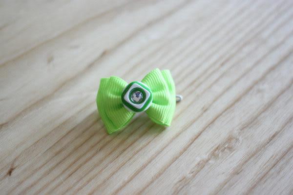 ★OBO CLUB HOUSE☆ 鈕扣晶鑽蝴蝶結頭飾-綠(扣夾)
