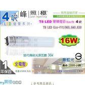 【P牌】LED燈管.T8 LED玻璃燈管.4呎 16W 單邊入電較安全#Eco-fit【燈峰照極my買燈】