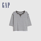 Gap男幼童 純棉圓領中長袖T恤 778221-灰白條紋