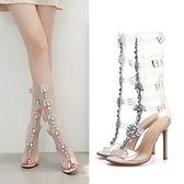 歐美風涼鞋 一字扣模特走秀魚嘴羅馬細高跟鞋 透明PVC水鉆歐貨潮涼靴412