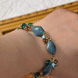 飾品新型陶瓷藍色誘惑純手工手鏈新款上市女式手鐲亮麗夏天