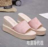 拖鞋女外穿時尚百搭2020新款夏季厚底鬆糕鞋坡跟巴厘島一字拖 LF3835【宅男時代城】