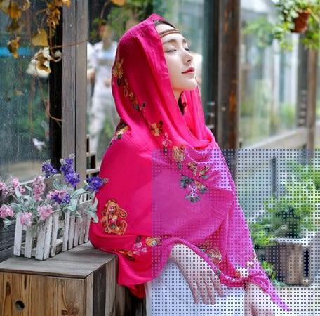 [協貿國際]  女士印度尼泊爾風情刺繡花朵棉麻圍巾披肩 (1入)