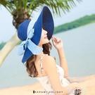 遮陽帽 女士可折疊大頭圍草帽防紫外線沙灘帽飄帶大沿帽夏天防曬遮陽帽子 韓菲兒