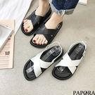 PAPORA時尚大交叉防水涼鞋KQ087黑/白