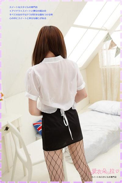 女秘書服 性感OL角色扮演 白色雪紡紗襯衫後綁帶上衣窄裙套裝- 愛衣朵拉