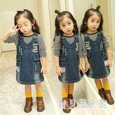 女童牛仔背帶裙 寶寶秋兒童秋女童2-5歲小童吊帶裙 BF13388『寶貝兒童裝』