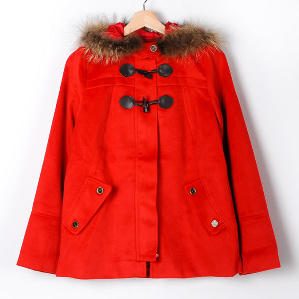 【MASTINA】毛領牛角釦保暖外套-紅色  外套限時特賣