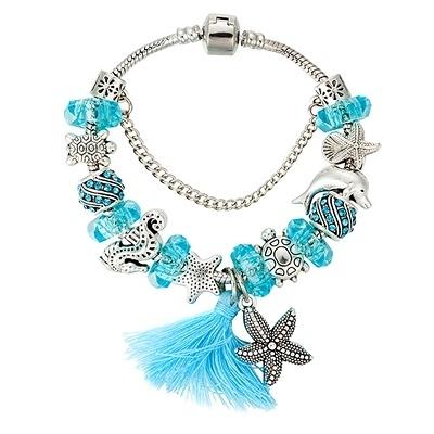 串珠手鍊-時尚精美水晶飾品藍色海洋風女配件73kc139【時尚巴黎】