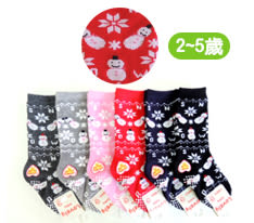 LY-3669長統寶寶襪-6雙 雪人 止滑童襪  2~5歲 台灣製