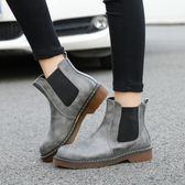 短靴女 馬丁靴子 秋冬歐美風女英倫圓頭棉靴平底粗跟鬆緊帶女靴平底靴《小師妹》sm2708
