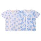 短袖和尚衣單件藍色款 純棉 印花 短肚衣 紗布衣 吸濕排汗 新生兒 居家服51006