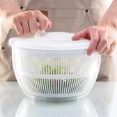 手動脫水機沙拉蔬菜脫水器大號洗菜盆手動搖甩干機創意廚房水果甩水瀝水籃LX熱賣