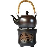 陶迷陶瓷粗陶煮茶壺耐熱提梁壺酒精爐子溫水爐泡茶壺蠟燭保溫茶具