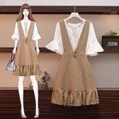 短袖套裝 中大尺碼 L-4XL新款減齡顯瘦洋氣鏤空連衣裙兩件套3F088-5352..1號公館