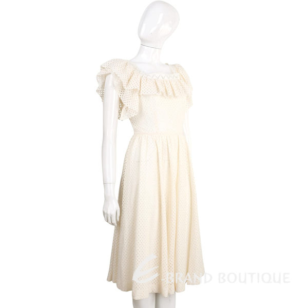 PHILOSOPHY 米白色洞洞縷空棉料荷葉襯邊方領洋裝 1620156-65