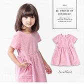 韓版甜美紅條紋短袖洋裝 氣質 百搭 棉麻 女童 童裝 洋裝 連身裙 連衣裙 哎北比童裝