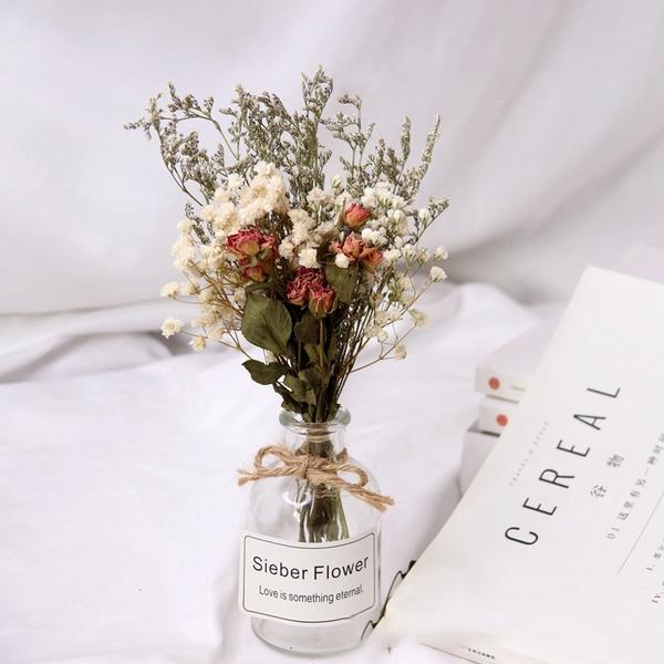【BlueCat】文心蘭滿天星小號透明玻璃瓶 乾燥花瓶 裝飾 花束 拍照 拍攝道具 擴香瓶