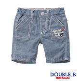 DOUBLE_B  清爽棉麻牛仔風短褲 (藍)