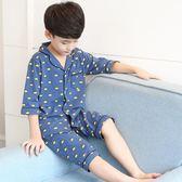 男童睡衣夏天兒童家居服6純棉7夏季8薄款9短袖10中大童12歲15男孩-Ifashion