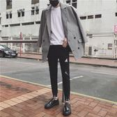 夏男士修身小腳水洗彈力顯瘦牛仔褲個性哈倫褲子破洞青少年長褲【全館85折最後兩天】