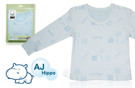 AJ Hippo 小河馬 天絲棉男童圓領 保暖內衣--藍色 (2Y/4Y/6Y)