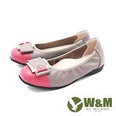 W&M (女)圓頭拼接方釦 娃娃鞋 平底鞋 女鞋 -灰(另有藍.黑)