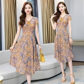 洋裝V領短袖甜美裙子M-3XL新款雪紡連身裙收腰顯瘦氣質碎花長款裙子H325-9226.胖胖唯依