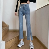 微喇高腰牛仔褲女2020夏季新款薄款褲子小個子百搭修身九分喇叭褲-米蘭街頭