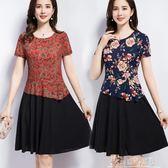 現貨五折 夏季中老年套裝雪紡上衣黑色裙2件套中年媽媽修身顯瘦女裝連身裙   6-1