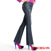 BOBSON 女款後袋刺繡貼腿喇叭褲(9056-52)