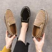 ins小皮鞋女復古新款鉚釘懶人一腳蹬厚底工作鞋樂福鞋單鞋秋 限時熱賣