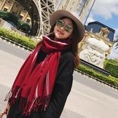 圍巾-仿羊絨條紋百搭時尚禦寒女披肩3色73ub22【巴黎精品】