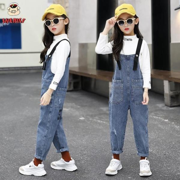 女童牛仔吊帶褲秋裝套裝新款兒童女孩洋氣牛仔褲中大童韓版褲子春 【端午節特惠】