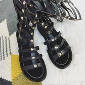 2018涼鞋女夏露趾鏤空編織平底鞋交叉長靴羅馬涼靴高筒高筒鞋鉚釘