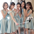 洋裝伴娘服2019新品夏季裝短款顯瘦伴娘團禮服韓版姐妹裙聚會短小禮服女